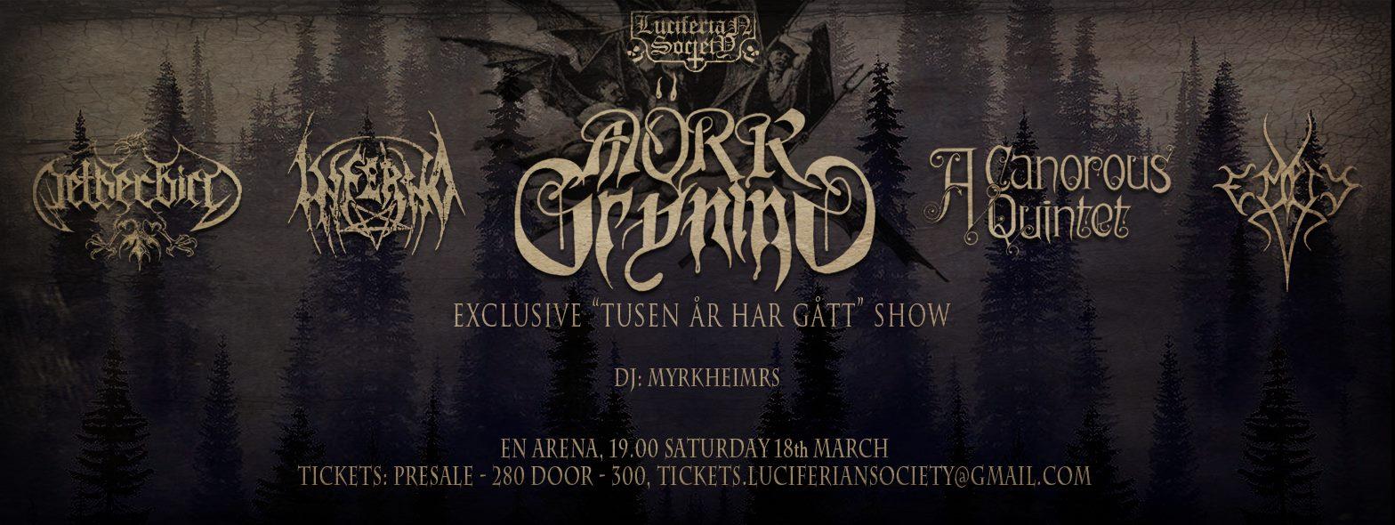 Mörk Gryning, Inferno, A Canorous Quintet, Empty & Netherbird @ En Arena | Stockholm | Stockholms län | Sweden