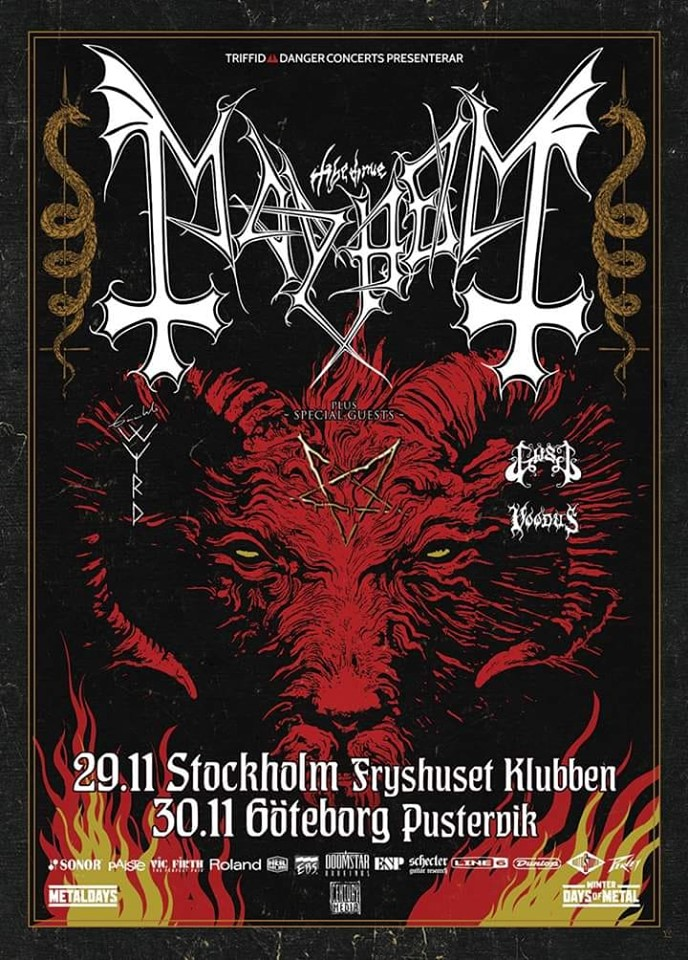 Mayhem + Gaahl´s Wyrd + Voodus @ pin Fryshuset Klubben/ Arenan